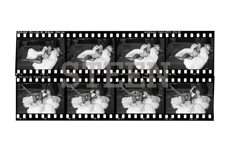 JOAN COLLINS, THE STUD, CONTACT PRINT, LIMOUSINE, LONDON, 1978