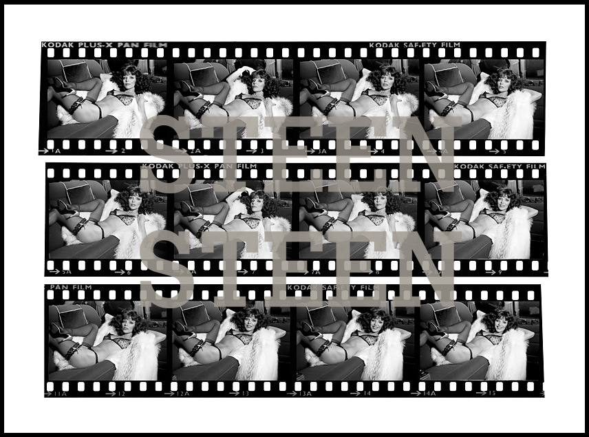 JOAN COLLINS, CONTACT PRINT, THE STUD, LIMOUSINE, LONDON, 1978